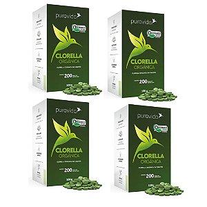 Combo 4x Clorella Premium 500mg 200 Tabletes - Pura Vida