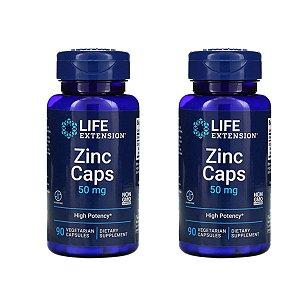Kit 2x Zinco quelado 50 mg 90 Cáps Life Extension, Importado