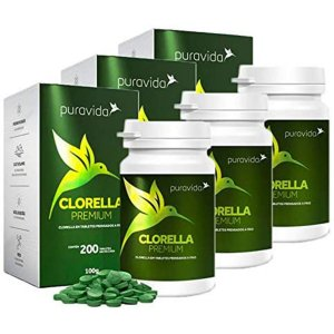Kit 3x Clorella Premium 500mg 200 Tabletes - Pura Vida
