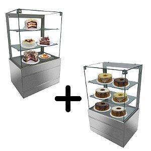 Montagem com Vitrine refrigerada 0,70 metros com vidro aquecido e vitrine seca 0,70 metros