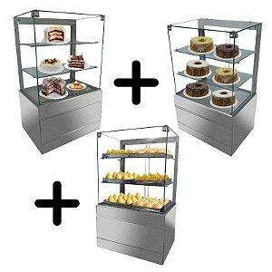 Loja Pronta - Montagem com Vitrine Refrigerada com vidro aquecido e Vitrine Seca e Vitrine Estufa 0,70 metro