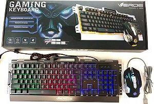 Super Kit Teclado + Mouse Gamer em Alumínio com LED RGB