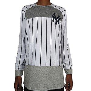 Camisa Manga Longa New Era New York Yankkes-Branca/Cinza Mescla