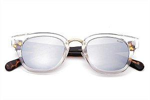 THE UNI-Óculos de Sol com armação transparente sofisticado e espelhado