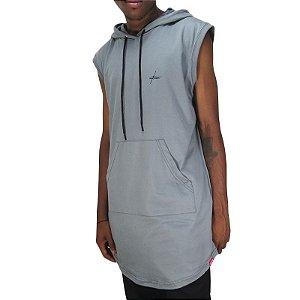 Camiseta Outlawz LongLine Hood-Cinza