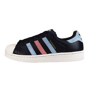 Tênis Adidas Superstar W-Preto/Azul/Rosa
