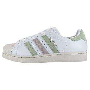 Tênis Adidas Superstar W-Branco/Rosa/Verde