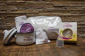 Kit InCiclo: Coletor Menstrual + Panelinha + Necessaire + Toalha + Porta Inciclo