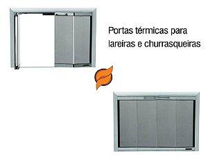 Portas para churrasqueiras em vidro temperado 4mm Sanfonada