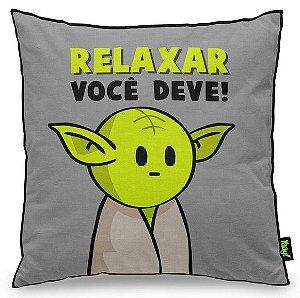 "Almofada ""Relaxar Você Deve"": Star Wars - Mestre Yoda"