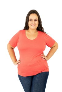 CAMISETA LIGHT BASIC CORA GOLA V - CORAL
