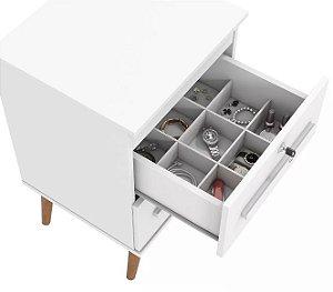 Mesa de Cabeceira Retrô Com Chave e Separador de Objetos - Branco