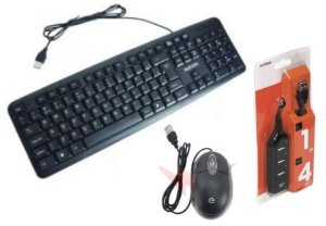 Kit Ergonômico Suporte de Notebook + Teclado + Mouse + HUB USB