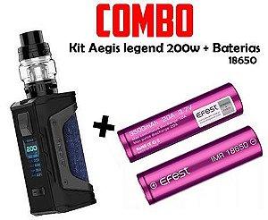 COMBO VAPE - 1 Kit Aegis legend 200w + 2 bateria Efest Purple 35A 3000 mah