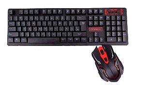 Teclado E Mouse Gamer keyboard Led Sem Fio jp-t1000 - Verde
