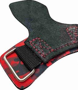 Hand Grip Couro Camuflado Vermelho