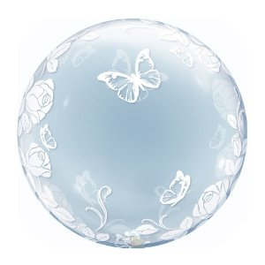 BALAO BUBBLE CRISTAL DECORADO BORBOLETA 24 POLEGADAS QUALATEX