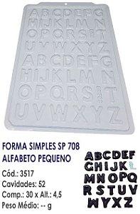 FORMA PLÁSTICA PARA CHOCOLATE SEMI PROFISSIONAL BWB SIMPLES ALFABETO SP708 R.3517