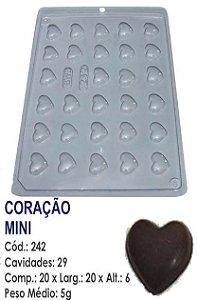 FORMA PLÁSTICA PARA CHOCOLATE BWB BOMBOM CORAÇÃO MINI UN R.242