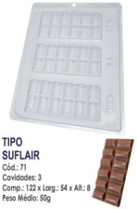 FORMA PLÁSTICA PARA CHOCOLATE BWB TABLETE SUFLAIR UN R.71
