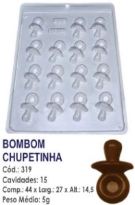 FORMA PLÁSTICA PARA CHOCOLATE BWB BOMBOM CHUPETINHA CHÁ DE BEBÊ UN R.319