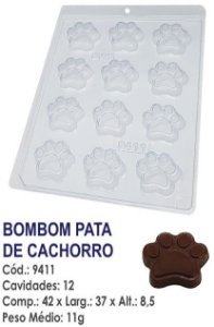 FORMA PLÁSTICA PARA CHOCOLATE BWB BOMBOM PATA DE CACHORRO PATRULHA CANINA R.9411
