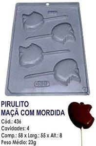 FORMA PLÁSTICA PARA CHOCOLATE BWB PIRULITO MAÇÃ COM MORDIDA UN R.436