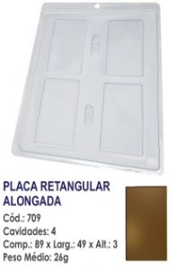 FORMA PLÁSTICA PARA CHOCOLATE BWB TABLETE PLACA RETANGULAR ALONGADA LISA UN R.709