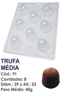 FORMA PLÁSTICA PARA CHOCOLATE BWB TRUFA MÉDIA 40G UN R.91_503