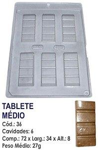 FORMA PLÁSTICA PARA CHOCOLATE BWB TABLETE DE CHOCOLATE MÉDIO UN R.36