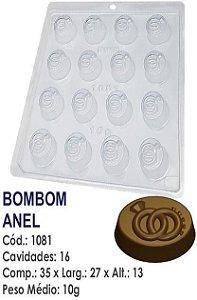 FORMA PLÁSTICA PARA CHOCOLATE BWB BOMBOM ANEL DE CASAMENTO UN R.1081