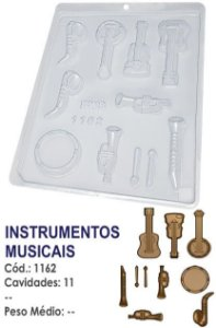 FORMA PLÁSTICA PARA CHOCOLATE BWB BOMBOM INSTRUMENTOS MUSICAIS UN R.1162
