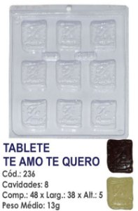 FORMA PLÁSTICA PARA CHOCOLATE BWB TABLETE TE AMO TE QUERO UN R.236