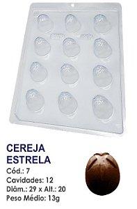 FORMA PLÁSTICA PARA CHOCOLATE BOMBOM BWB REDONDO DECORADO CEREJA ESTRELA UN R.07_509