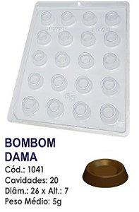 FORMA PLÁSTICA PARA CHOCOLATE BWB BOMBOM REDONDO PEÇAS DE DAMA UN R.1041