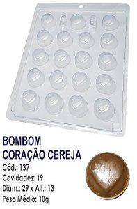 FORMA PLÁSTICA PARA CHOCOLATE BWB BOMBOM REDONDO DECORADO CORAÇÃO CEREJA UN R.137_1599F