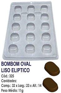 FORMA PLÁSTICA PARA CHOCOLATE BWB BOMBOM OVAL LISO ELIPTICO UN R.325