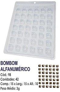 FORMA PLÁSTICA PARA CHOCOLATE BWB BOMBOM LETRAS E NÚMEROS ALFANUMÉRICO UN R.98