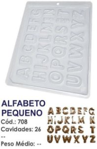 FORMA PLÁSTICA PARA CHOCOLATE BWB BOMBOM ALFABETO PEQUENO UN R.708_1920F
