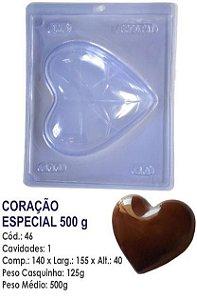 FORMA PARA CHOCOLATE COM SILICONE BWB CORAÇÃO 500GR UN R.46