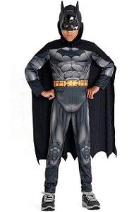 FANTASIA BATMAN COM MÚSCULOS LONGA LUXO PREMIUM DC LIGA DA JUSTIÇA ORIGINAL E LICENCIADO INFANTIL R.22887