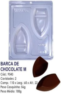 FORMA PARA CHOCOLATE COM SILICONE BWB BARCA MÉDIA UN R.9543