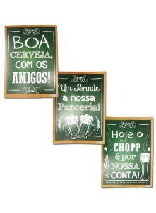 PLACA DECORATIVA PARA MESA MENU DO DIA FESTA DO BOTECO C/6UN R.628