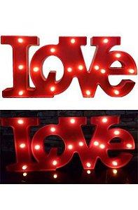 LUMINÁRIA LOVE VERMELHO GRANDE COM 16 LEDS PISCA UN R.EP009