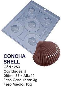 FORMA PARA CHOCOLATE COM SILICONE BWB CONCHA SHELL R.253