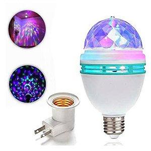 LAMPADA BOLA MALUCA DE 3 LED GIRATÓRIA COM SOQUETE PARA FESTA 110V UN R.C50280