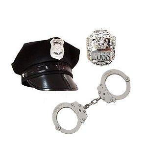Kit Policial Quepe Algema Distintivo Fantasia Infantil Festa