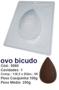 FORMA PARA CHOCOLATE COM SILICONE BWB OVO DE PÁSCOA BICUDO 250GR UN R.9560