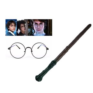 KIT FANTASIA HARRY POTTER BRUXO ÓCULOS + VARINHA COSPLAY C/2PÇS