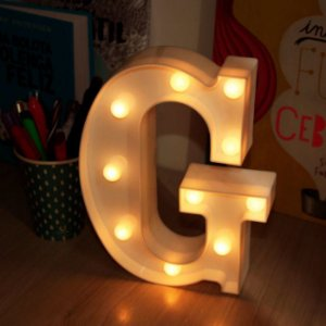 LUMINARIA DE LED LETRA G COR BRANCA LED 3D DECORATIVA FESTA UN R.DS9852